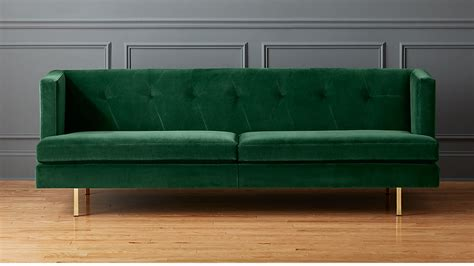 Avec Emerald Green Sofa With Brass Legs + Reviews