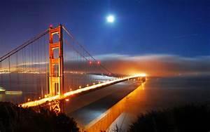 San, Francisco, Bridge, Night, Lights, Wallpapers