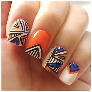 Nude Orange Blue Black Gold Bling Tribal Design Nails | My Nails | Pinterest