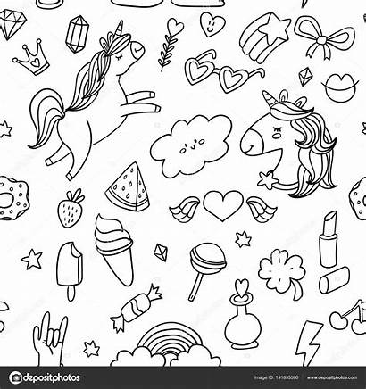 Stickers Doodle Sketch Coloring Pattern Elements