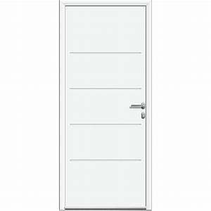 porte d39entree aluminium lineal blanc poussant gauche h With porte d entrée alu blanc