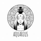 Zodiac Coloring Aquarius Horoscope Signs Printable Symbol Feb Adult Waterman Het Colorare Calendar Artwork Meisje Illustratie Sheets Jan Astrologie Zodiaco sketch template