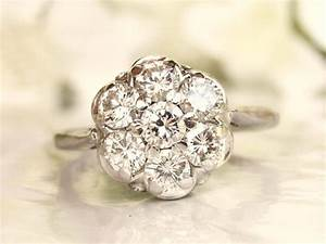vintage engagement ring 077ctw diamond cluster ring 14k With daisy wedding ring