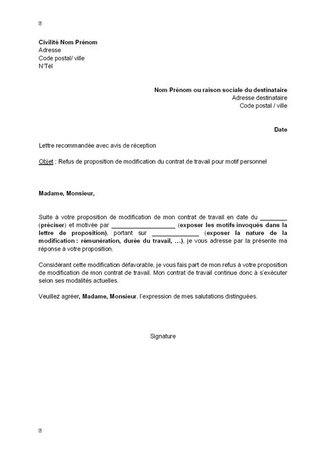 Modification Du Temps De Travail by Lettre De Refus Par Le Salari 233 De La Modification De