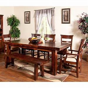 Vineyard Wood Rectangular Dining Table & Chairs in Rustic