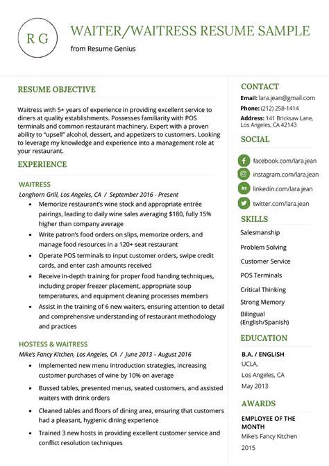 Waitress Hostess Resume by Waiter Resume Sle Exle Document And Resume