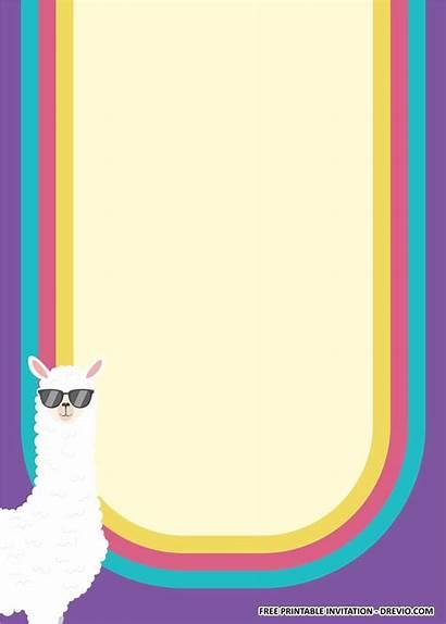 Llama Templates Birthday Printable Invitation Party Blank