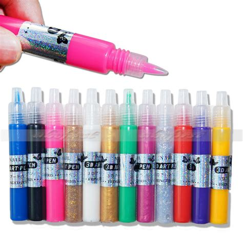 kurze nã gel design 12 colors nail 3d paint pen uv gel acrylic drawing design tips set