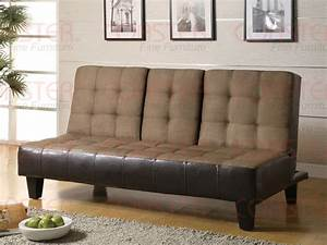 Tan microfiber dark brown vinyl sofa bed by coaster 300237 for Tan microfiber brown vinyl sectional sofa