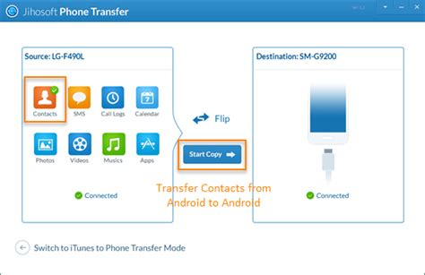 transfer contacts from android to android mobile phone