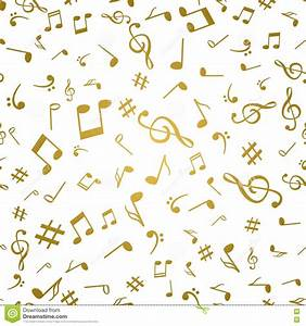 Abstract Golden Music Notes Seamless Pattern Background ...
