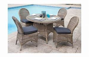 Table De Jardin Et Chaises : table de jardin ronde et 4 chaises en r sine tress e rotin ~ Teatrodelosmanantiales.com Idées de Décoration