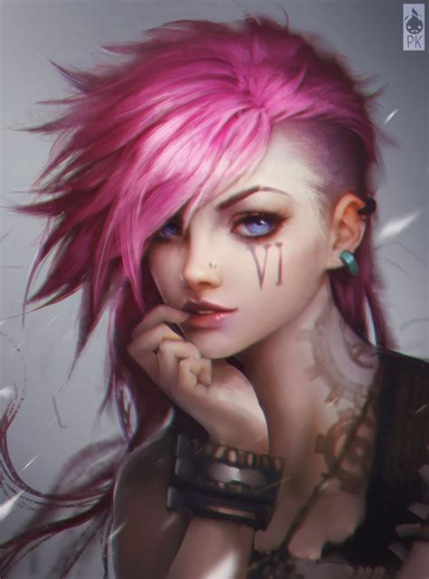 pink hair blue eyes punk girl fantasy wallpaper background