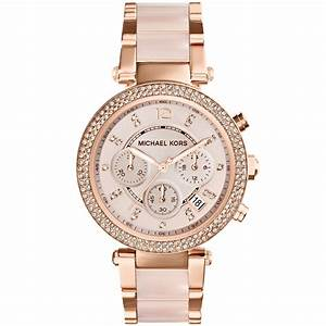 Michael Kors Women'S Chronograph Parker Blush And Rose ...
