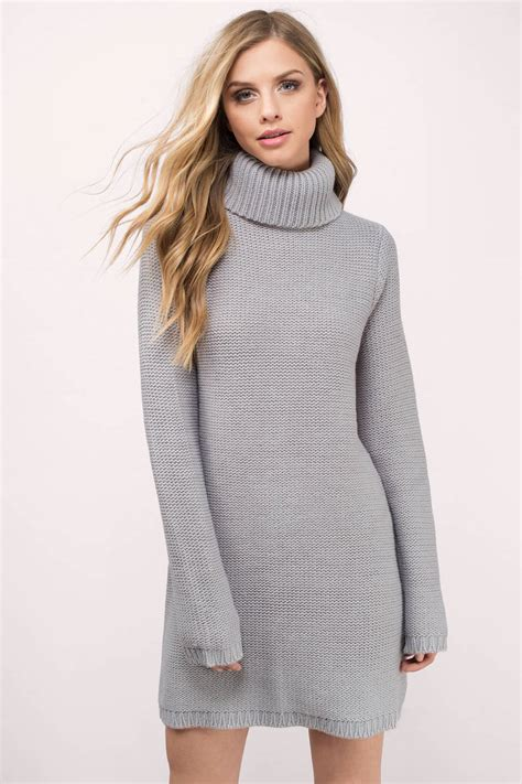 Cute Grey Dress - Turtleneck Dress - Army Grey Sweater - Day Dress - $17 | Tobi US