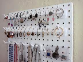 pegboard kitchen ideas wall hanging jewelry organizer white for necklaces
