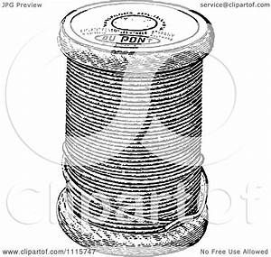 Clipart Retro Vintage Black And White Spool Of Sewing