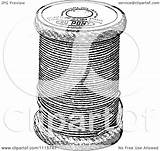 Spool Sewing Thread Clipart Illustration Royalty Vector Retro Prawny sketch template