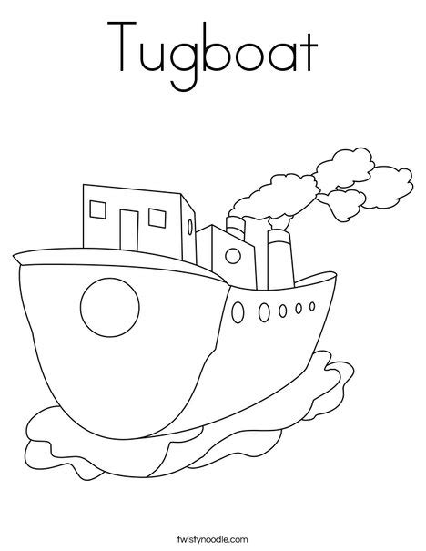 Tugboat Outline by Tugboat Coloring Page Twisty Noodle