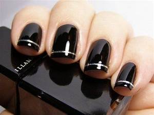 Black and silver nail art designs nails