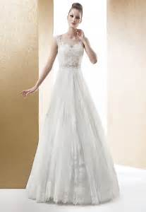 Simple beading tulle straps lace bateau sweep brush train for A line wedding dresses with straps