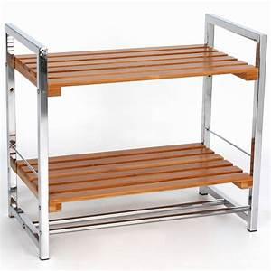 Meuble Salle De Bain Gifi : etagere 2 niveaux bambou metal bambou ~ Dailycaller-alerts.com Idées de Décoration