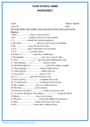 worksheets  std vi english find teacher post worksheets
