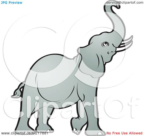 elephant clipart outline trunk up royalty free rf clipart illustration of a gray elephant