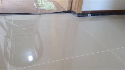homogeneous tile polishing with marble gum grout filled
