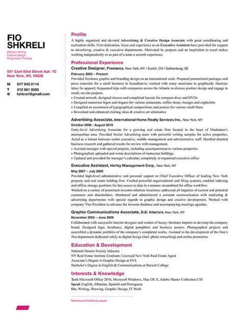 Interest Column In Resume by Fio Shkreli Resume Design Sle Http Bespokeresumedesign Business