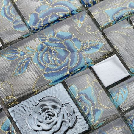 glass mosaic tile squares blue rose pattern stainless
