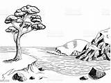 Landscape Sea Coast Graphic Pine Cliff Nero Grafische Mare Cartoon Illustrazione Paesaggio Clipart Zwarte Overzeese Witte Costa Het Della Sketch sketch template