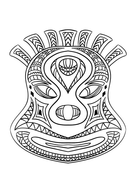 african mask  africa adult coloring pages