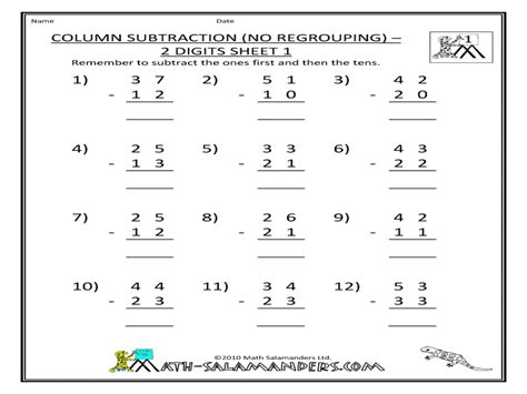 single digit vertical addition without regrouping column subtraction no regrouping 2 digits sheet 1