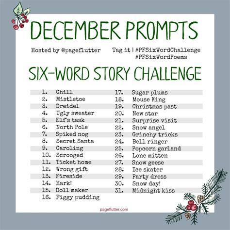 is journaling a word december six word story challenge prompts 2017