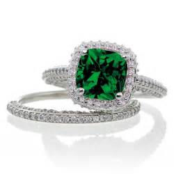 emerald and engagement rings 2 5 carat cushion cut designer emerald and halo wedding ring set on 10k white gold
