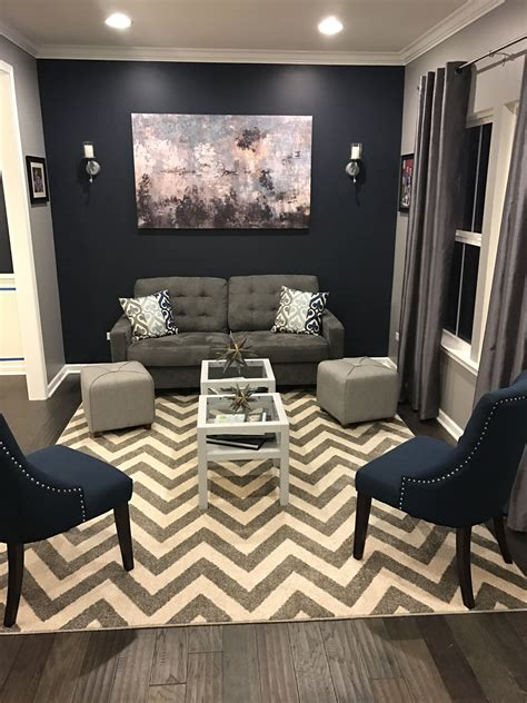 Formal Living Room Accent Wall by Homes Rome Living Room Transformation Hale Navy
