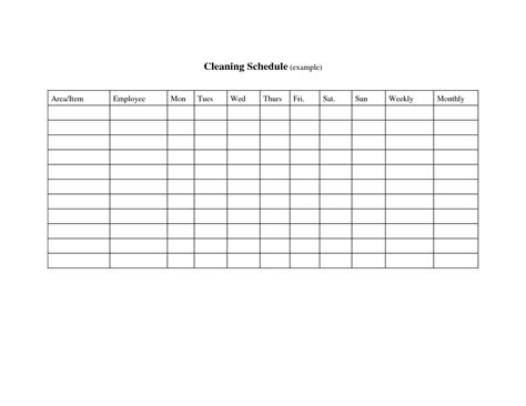 template warehouse cleaning schedule template warehouse