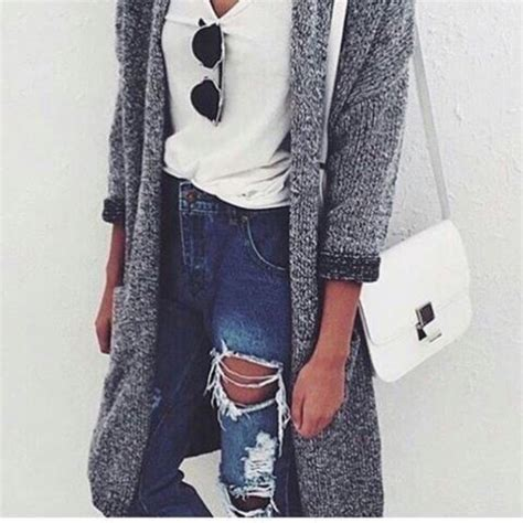 Cardigan grey long jeans jacket cool girl style cute cardigan tumblr ripped jeans ...