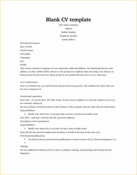 Blank Cv Format by 7 Blank Resume Template Free Sles Exles