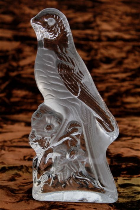 vintage art glass bird paperweight crystal clear viking