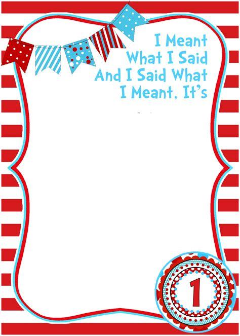 Free Birthday Templates by Free Printable Dr Seuss Birthday Invitations Free