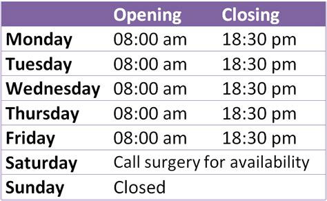 opening times  chorley surgery