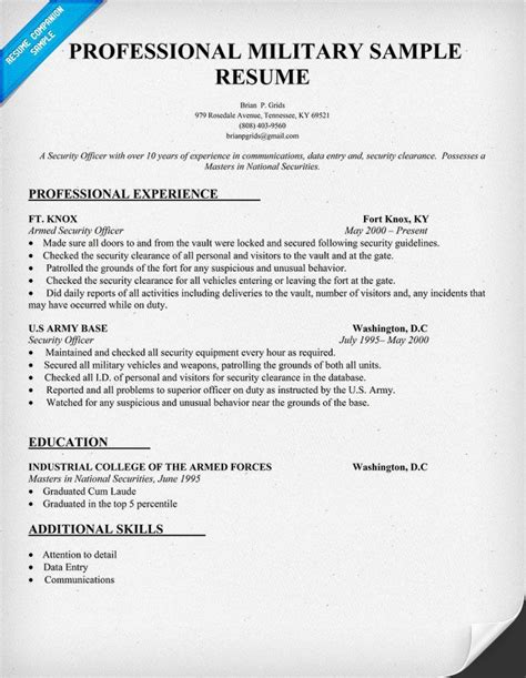 professional military resume sle http