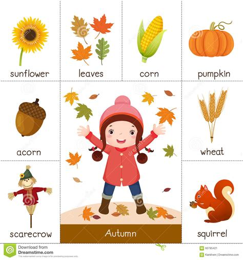 l words and pictures printable cards leaf legs printable flash card for autumn and