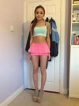 Teen girls in mini skirt
