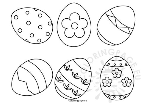 set  easter eggs shapes coloring page