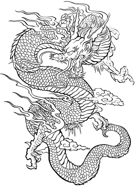 Tattoo Coloring Pages Chinese Dragon Coloringstar