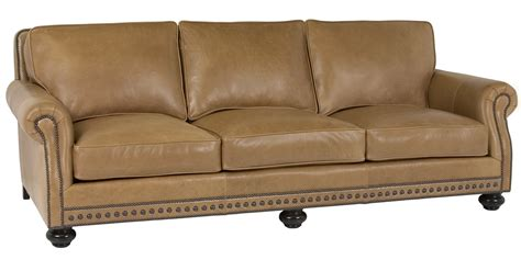 sofa style leather pillow back sofa with rolled arms and nail trim club furniture