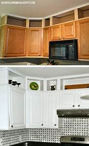 Kitchen before and after utilizing the space above for Best brand of paint for kitchen cabinets with where to get wall art